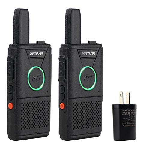 Retevis RT18 Walkie Talkies Rechargeable Long Range FRS Radios UHF 16 CH Dual PTT VOX Super Thin Mini 2 Way Radios Small 2 Pack