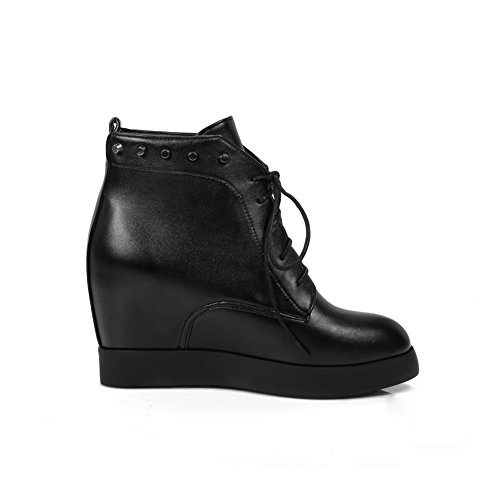 Heighten Black Boots Rivet Bandage Ladies AdeeSu Inside Imitated Leather PxOtqCfwv