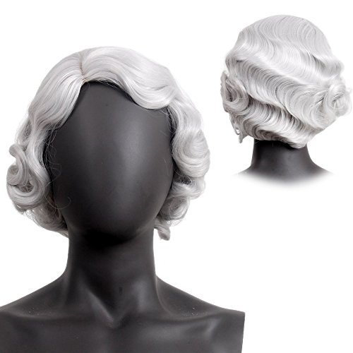 Finger Wave Wig Bob Short Curly for Women Cosplay Party Costume Hairpiece 12