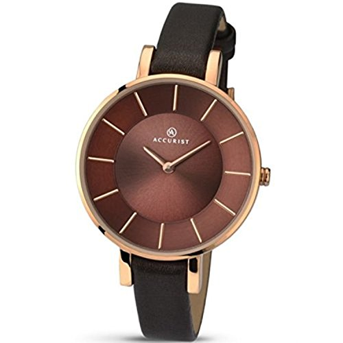 Accurist Contemporary Rose Gold & Brown Leather Ladies Watch 8088