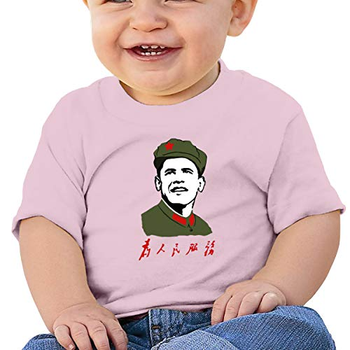 Printing Obama Cover - FFashionshirt Funny Baby Short Sleeve T-Shirt Printed with Obama Red Star Chinese Slogan 18M