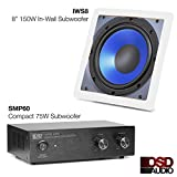 """OSD Audio SMP60 75W Compact Subwoofer Amplifier and IWS8 In-Wall 8"""" 150W Subwoofer"""