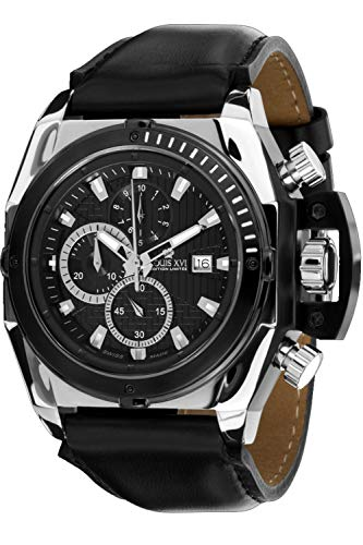 - Louis XVI Men's-Watch De Custine l'argent Noir Swiss Made Chronograph Analog Quartz Leather Black 559