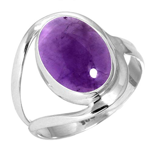 - Natural Amethyst Women Jewelry 925 Sterling Silver Ring Size 6
