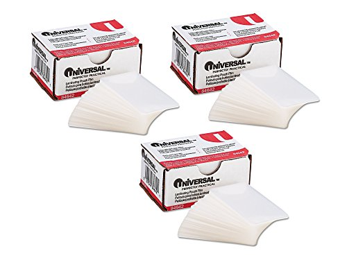 Universal UNV84642 100 per Box Clear Laminating Pouches, 2 1/4-Inch x 3 3/4-Inch - 3 Pack