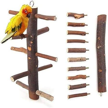 Yeaser pájaro escalera de madera de escalada pájaros soporte juguete para loros periquitos perico conure Finch africano gris guacamayo Amazonas jaula perca