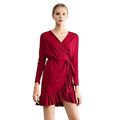 Women's Mini Dress Women Solid Color Ruffle V Neck Long Sleeve Casual Loose Dress with Belt