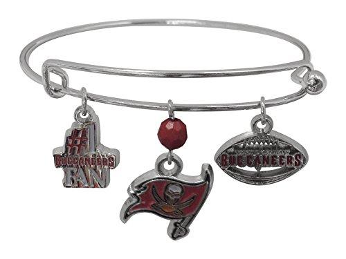 Pro Specialties Group NFL Tampa Bay Buccaneers Three Charm Logo Bracelet