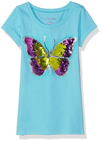 Colette Lilly Toddler Girls' Short Sleee Sequin Tee, Seafoam Butterfly, 4T