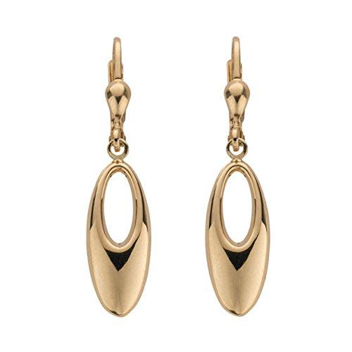 9ct or jaune Fancy ovale Boucles d'oreilles pendantes 2.3G