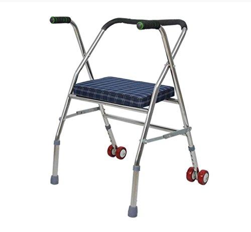 Walker Stainless Steel Elderly Handicapped Walker Pulley Block Pedal with Four Legs Walking Step Folding Walke Comfy Lightweight Handle Classic Folding Walker by jiaminmin