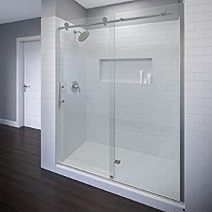 Basco Vinesse Frameless Sliding Shower Door, Fits 45-47 in. Opening, Clear Glass, Brushed Nickel Finish