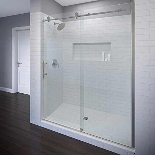 (Basco Vinesse Frameless Sliding Shower Door, Fits 57-59 in. Opening, Clear Glass, Brushed Nickel Finish)