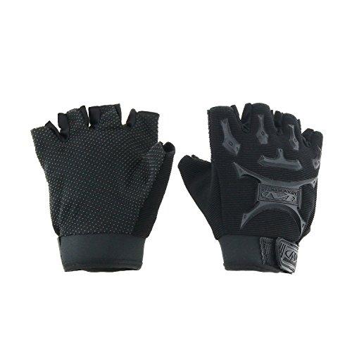 Child Short Black Gloves (Kids Cycling Gloves, VEY Non-Slip Half Finger Bicycle Breathable Glove for Children 6 - 12 (Black))