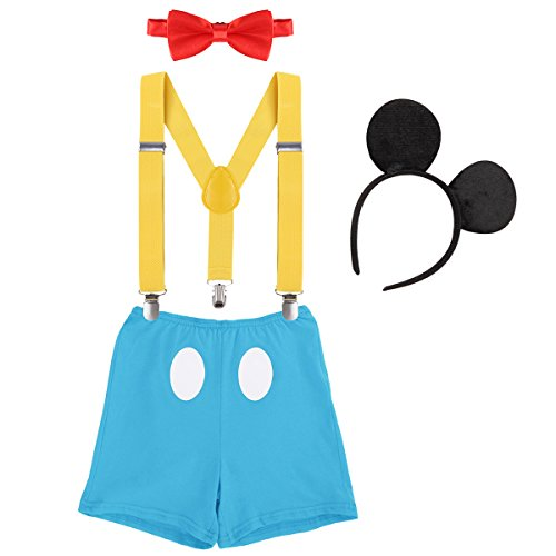 Cake Smash Boutique Outfits Baby Boy 1st Birthday Party Fall Suspenders Diaper Nappy Cover Bow Tie Bloomers Mouse Headband #19 Blue+Red+Yellow 12-18 Months -