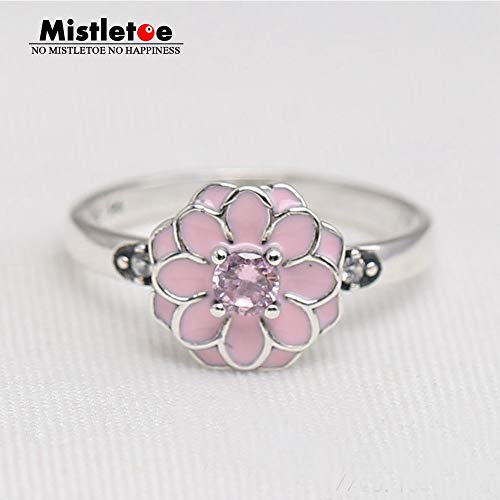 Genuine 925 Sterling Silver Blooming Dahlia Cream Enamel Clear Cz & Blush Pink Crystal Ring Compatible with European Jewelry