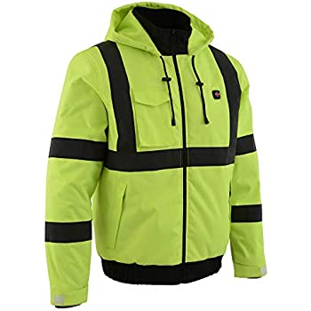 Milwaukee Leather-Men's High Viz Green Heated Textile Jacket w/Front & Back Heating Elements - Battery Pack Included-NEON GREEN-SM