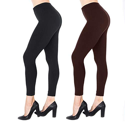 Ankle Length Tights - NUUR 2-Pack Mid-Waist Leggings, Ultra Soft Yoga Workout Tights for Women Girls, All Match Style in Ankle Length