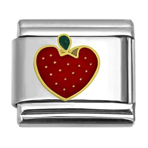 (SilverAndJewelry Strawberry Italian Charm Stainless Steel Bracelet Link)