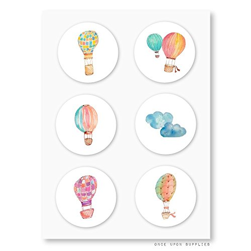 Once Upon Supplies Hot Air Balloon Round Stickers, for Hot Air Balloon Themed Birthday Party and Baby Shower Decoration, Envelope Seals, Party Favor Labels and Cupcake Toppers, 1.5