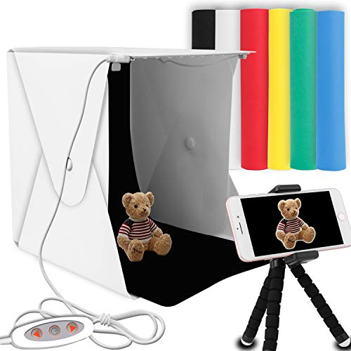 "Portable Photo Studio, Elegant Choise 9.8"" x 9.3"" x 8.7"" Adjustable Brightness Photography Studio Box Shooting Tent Mini Folding Table Top LED Light Box Kit with 6 Color Background from Elegant Choise"