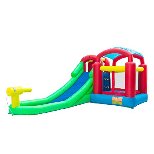 Rapesee Children Kids Inflatable Bounce House, Todder Baby Outdoor Indoor Blow Up Moonwalk Water Slide Pool Play Jump Bounce House Jumper Bouncer Castle Green (224.4 x 139.2 x ()