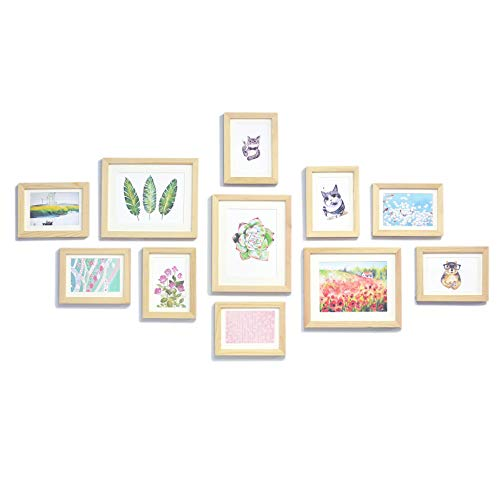 Natural Wall Photo Picture Frames Gallery Set - Solid Wood - 11 Frames - Glass Front- with Picture Mats - Frame Width 2cm - Unpainted- Includes: 3pcs 8x10, 8pcs 5x7 inch Frames and mounting Acc.