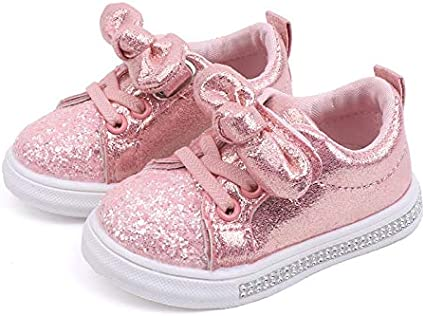 ❤️Rolayllove❤️ Running Sneakers for Toddlers Boys Girls Shoes Glittery Bowknot Casual Slip-on Sneaker 12M-6Y