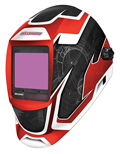 Westward Auto Darkening Welding Helmet, Black/Red/White, Professional-Large View, 6 to 9/9 to 13 Lens Shade - 44R229