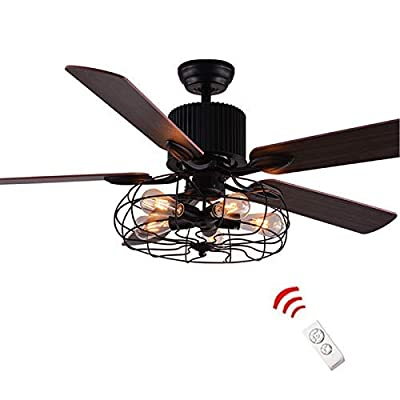 LUOLAX 52-Inch Industrial Semi Flush Mount Ceiling Fan Light Wood Blade Retro American Restaurant Home LED Fan Chandelier with Remote Control