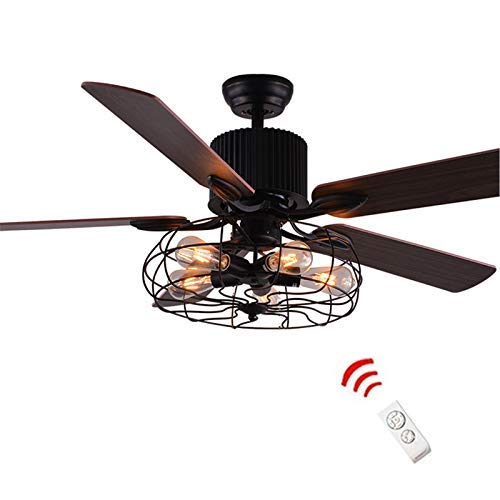 Vhouse Industrial 52-Inch Ceiling Fan Semi Flush Mount Ceiling Light Fixture Vintage Retro Fan Chandelier Pendant Light with 5-Light (Remote Control)