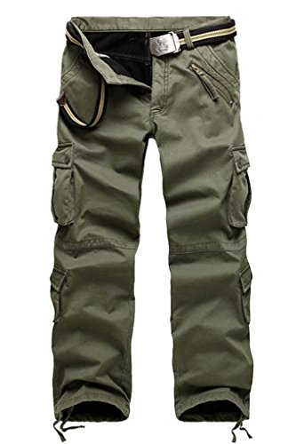 GUSER Men's Fashion Thick Lined Cold Weather Warm Straight Cargo Pants Army Green 32