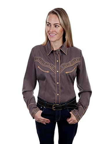 Scully Western Shirt Womens L/S Embroidery XXL Heather Brown PL-865