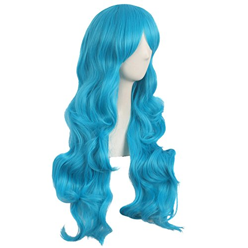 MapofBeauty 28 Inch/70cm Charming Women Side Bangs Long Curly Full Hair Synthetic Wig (Cyan Blue) - http://coolthings.us