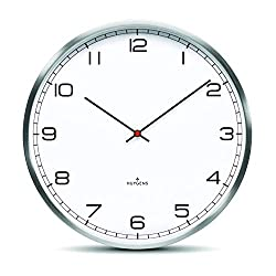 Huygens One45 White Arabic Wall Clock | Stainless Steel