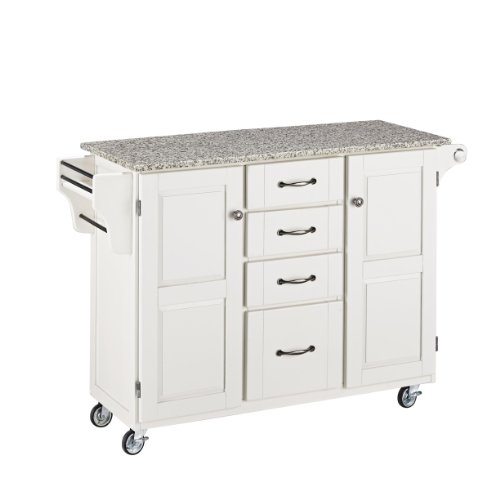 (Create-a-Cart White 2 Door Cabinet Kitchen Cart with Salt and Pepper Granite Top by Home Styles)
