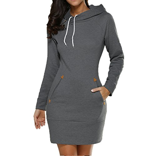 Le Top Hooded Robe (CUTEQ Women Sweatshirts Hoodies Dress Sweater Side Zip Design Long Sleeve With Pockets Drawstring Hooded Tops Robe)