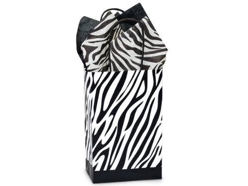 Cakesupplyshop Ck59p- 25/set Zebra Paper Stripes - All-occasion Paper Favor Gift Bags - 5x3-1/8x9-5/8""
