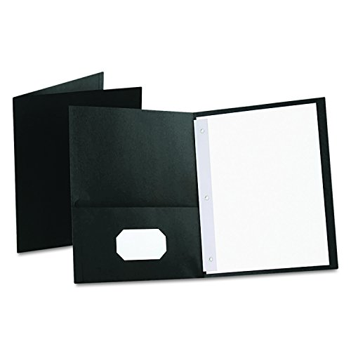 Oxford Twin Pocket Folders with Fasteners, Letter Size, Black, 25 per Box (57706)