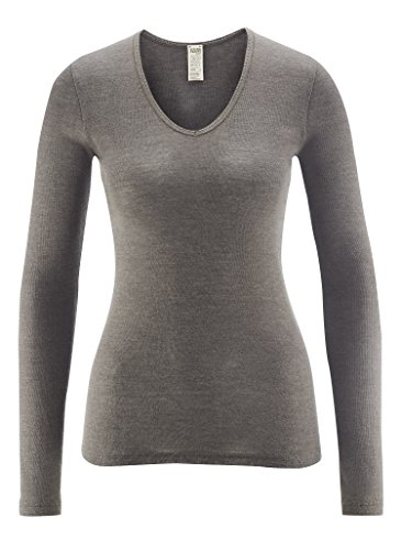Grey Long Sleeved Silk Top - Living Crafts Organic Textiles Women's Organic Wool & Silk Long-Sleeved V-Neck Top (36/38, Charcoal)