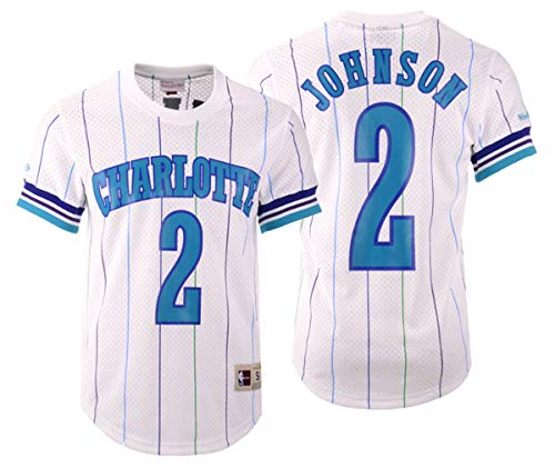 - Mitchell & Ness Larry Johnson Charlotte Hornets Printed Name and Number Mesh Crewneck Jersey (X-Large)