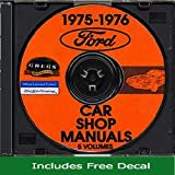 1975-76 Ford Lincoln Mercury Cars Shop Repair Service Manual (with Decal)