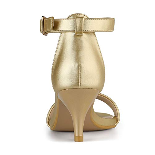 Gold Women Allegra Sandals Toe Open Ankle Strap Kitten K Heel CnqwUSv
