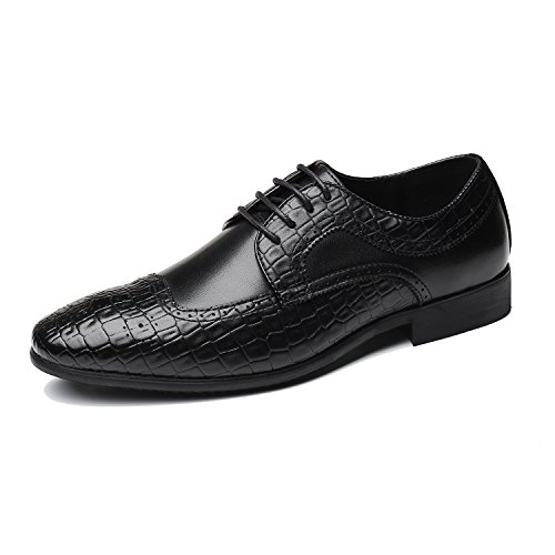 Men's Leather Oxfords Dress Shoes, Lace-ups Brogue Wingtip Pointed Toe Casual Derbies Business for ()
