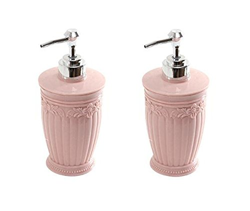 2PCS 400ml/13.3oz Refillable Empty European Carved Plastic Pressing Bottles Cosmetic Container Storage Dispenser For Shower Gel Shampoo Conditioner Bath Toiletries (Pink)