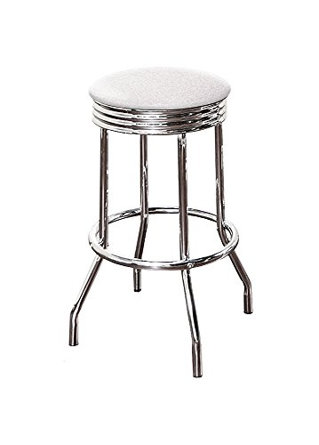 "The Furniture Cove 1-24"" Tall Chrome Finish Retro/Soda Fountain Style Swivel Seat Bar Stool Featuring Your Favorite Colored Glitter Vinyl Seat Cushion (White Glitter)"