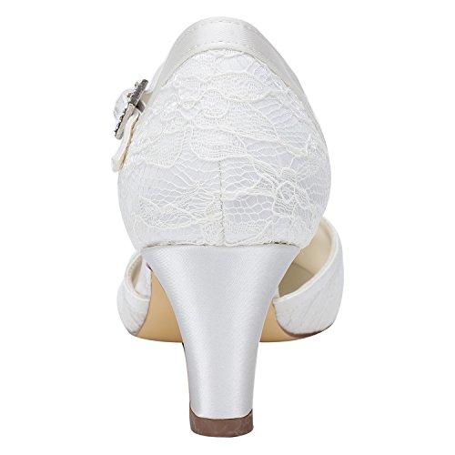 da Righe Raso Tacco Sandali Bridal in Sposa Emily a Pizzo Scarpe White in con 4a1wxSq