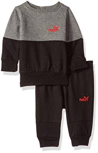 PUMA Baby Boys' Pullover Fleece Set, Charcoal Heather 3-6