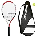 Babolat 105 Tennis Racket + Carry Case + 3 Tennis Balls (Various Options) (Red/White)