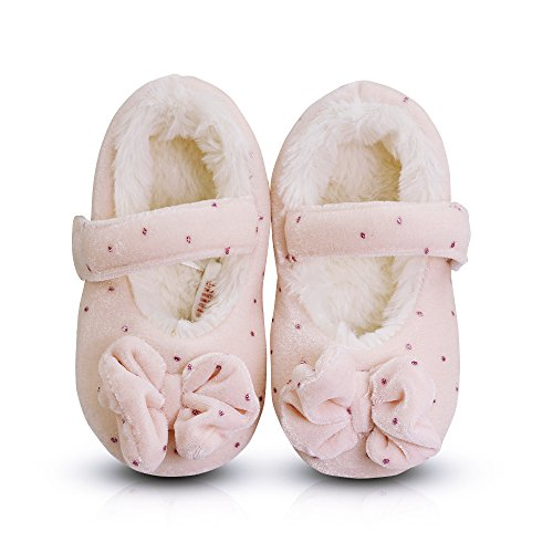 LA PLAGE Toddlers Kids Premium Plush Lining Slippers with Lovely Polka Dot Bowknot Upper Warm Comfy Shoes(Girls)